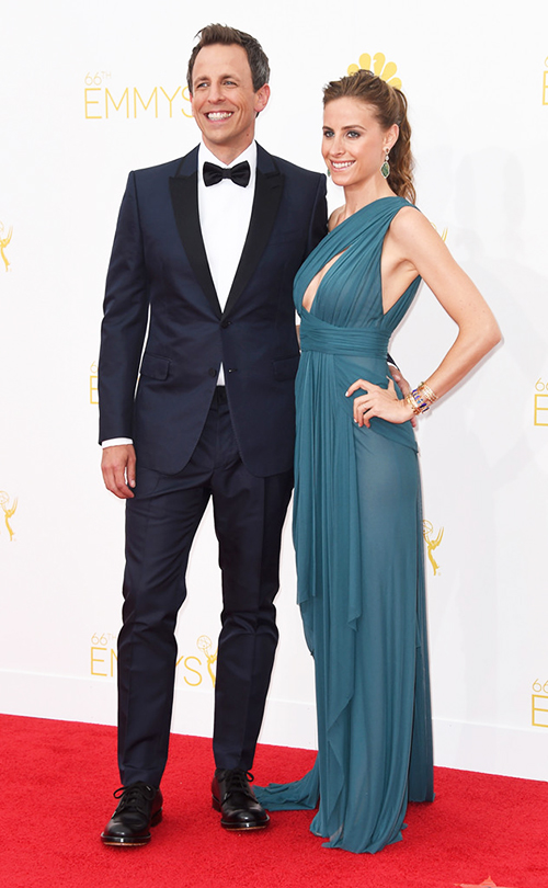 Seth Meyers in a midnight blue tuxedo at the 2014 Emmy Awards