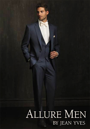 Slate Blue 'Allure Men' Tuxedo by Jean Yves - Full Length Shot