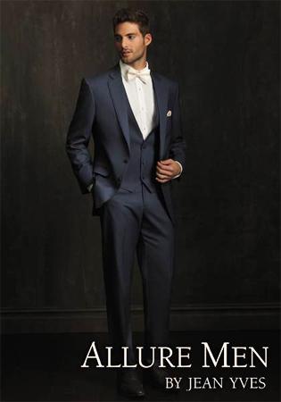 Slate Blue 'Allure Men' Tuxedo by Jean Yves - Full Length Shot