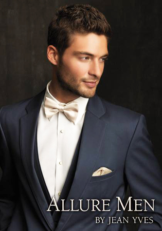 Slate Blue 'Allure Men' Tuxedo by Jean Yves - Close Up Shot