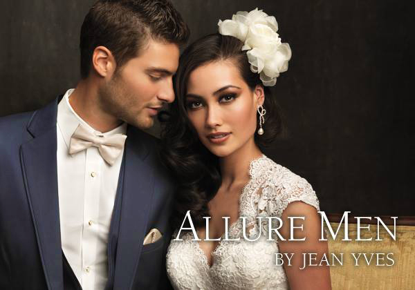 Slate Blue 'Allure Men' Tuxedo by Jean Yves - With Bride
