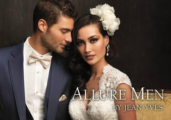 Slate Blue 'Allure Men' Tuxedo by Jean Yves - With Bride