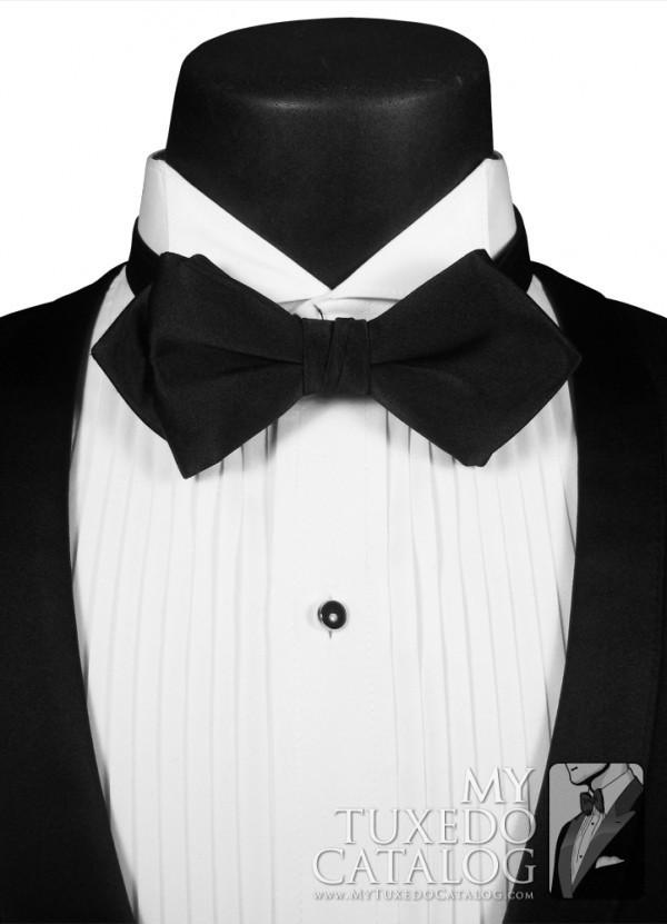 black pointed bow tie ties