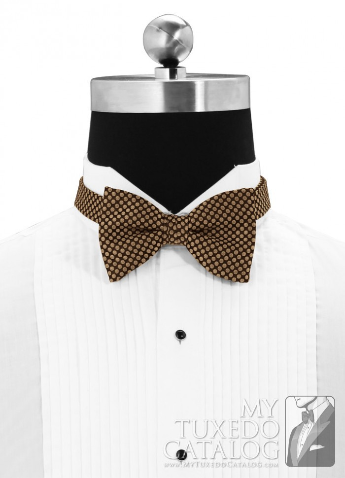 Bronze 'Vertical' Dot Bow Tie   Ties   MyTuxedoCatalog.com