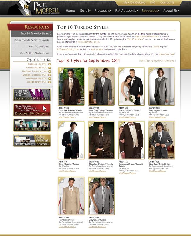 Top Ten Tuxedo Rental Styles for September, 2011