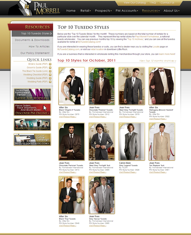 Top Ten Tuxedo Rental Styles for October 2011