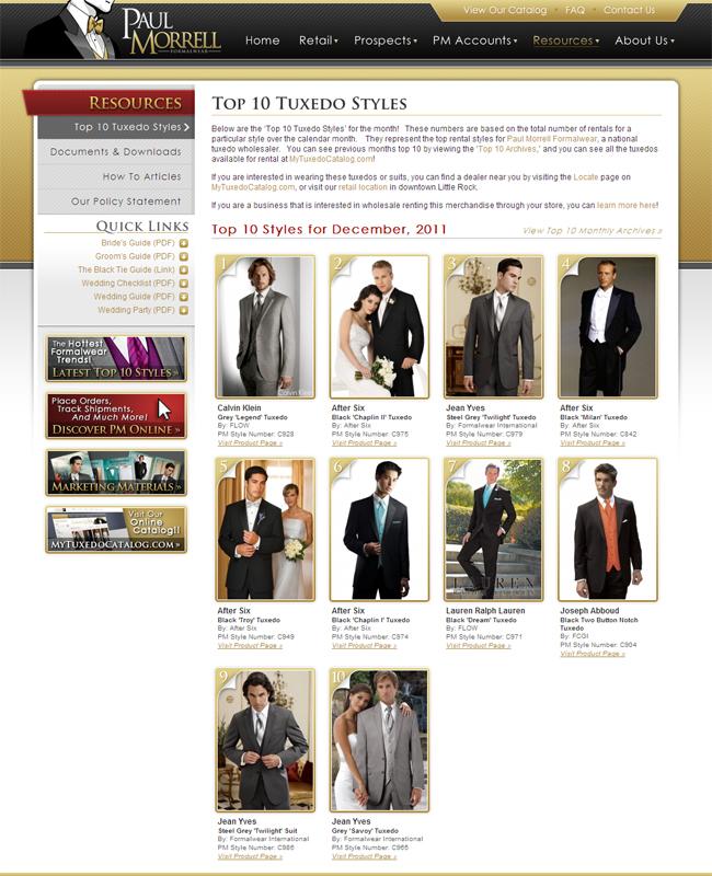 Top Ten Rental Tuxedo Styles for December 2011