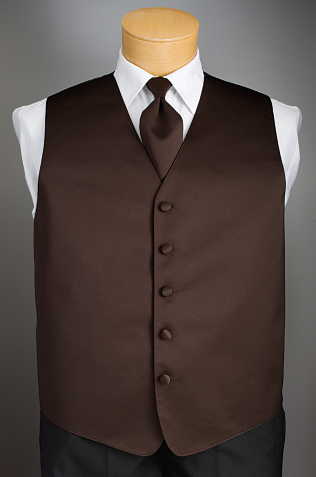 Chocolate 'Solid Satin' Vest by Brandon Michael
