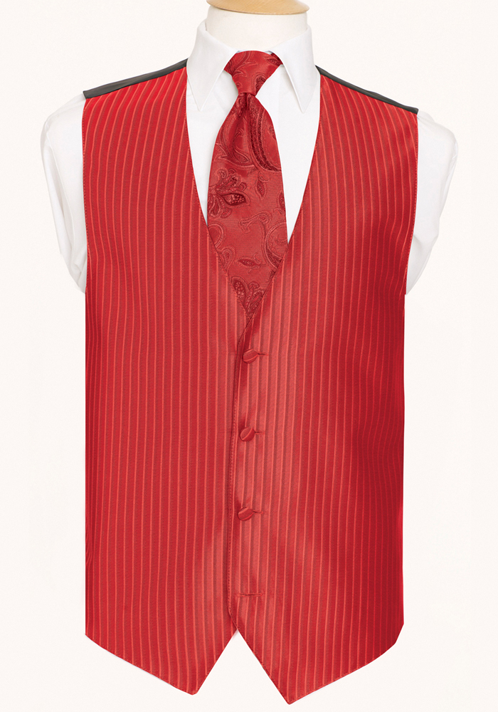 Ferrari Red 'Lido Herringbone' Vest by Black Gold