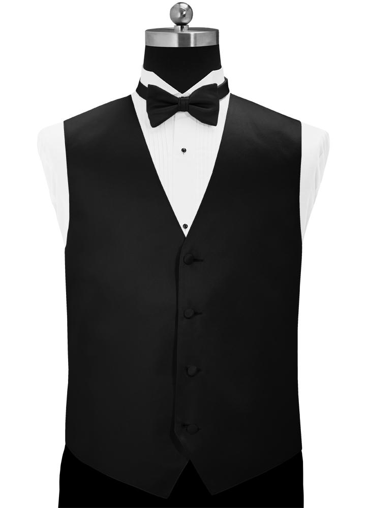 Black 'Simply Solid' Tuxedo Vest