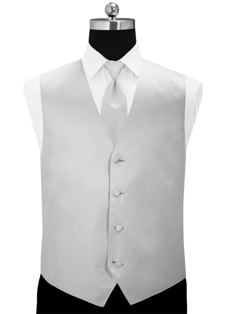 Silver 'Simply Solid' Tuxedo Vest
