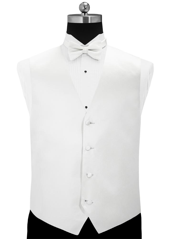 White 'Simply Solid' Tuxedo Vest