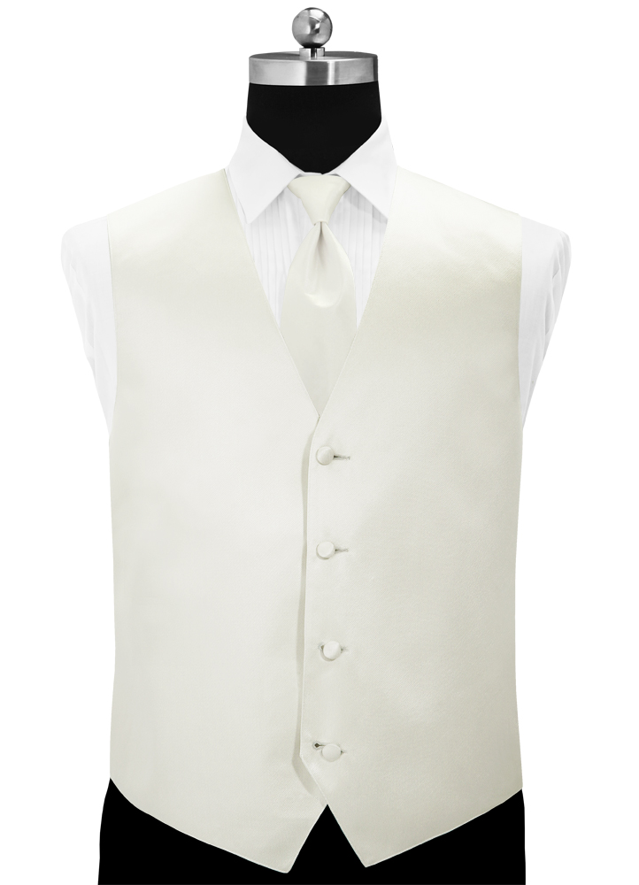Ivory 'Simply Solid' Tuxedo Vest