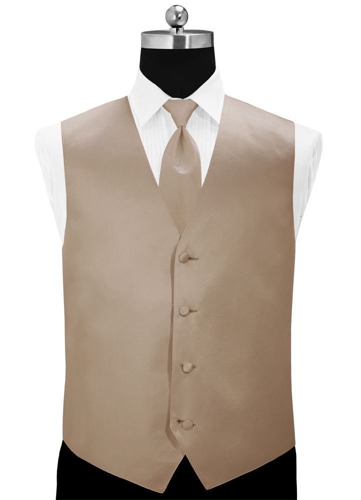Taupe 'Simply Solid' Tuxedo Vest