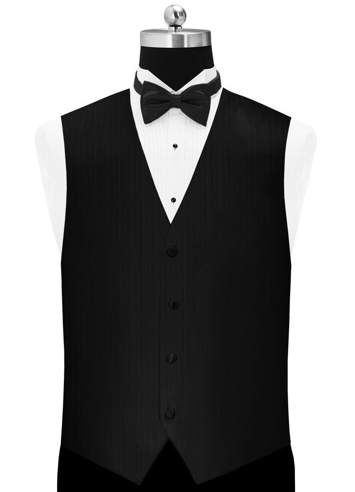 Black 'Vertical' Tuxedo Vest