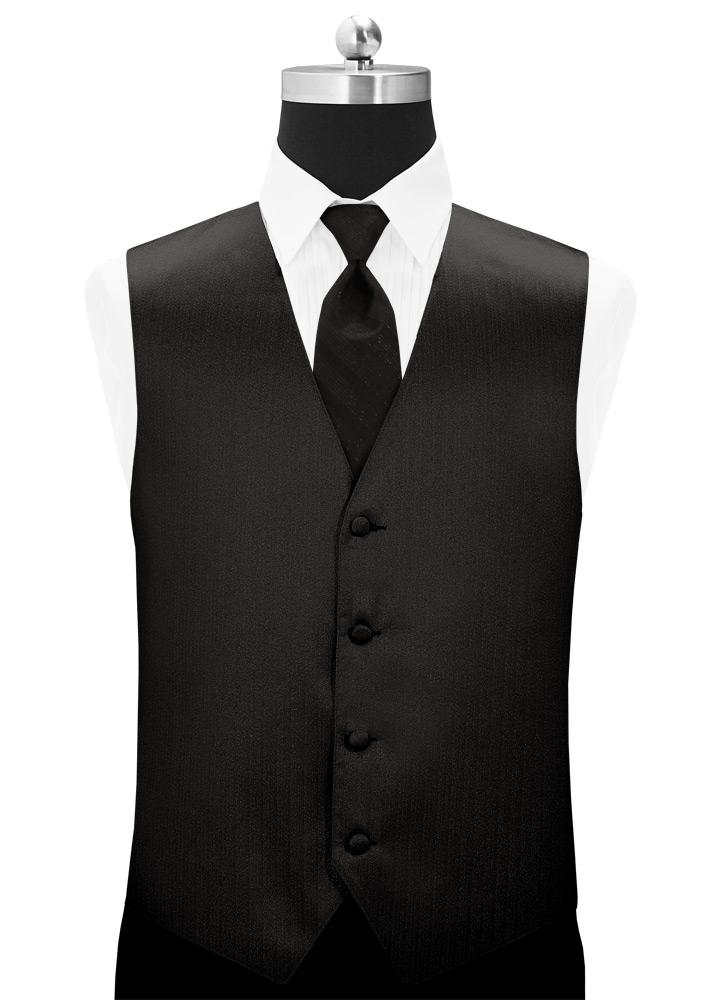 Metallic Black 'Vertical' Tuxedo Vest