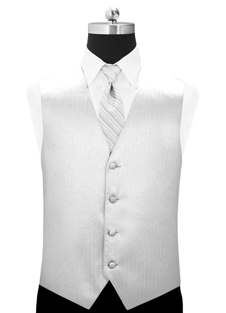 Metallic Silver 'Vertical' Tuxedo Vest