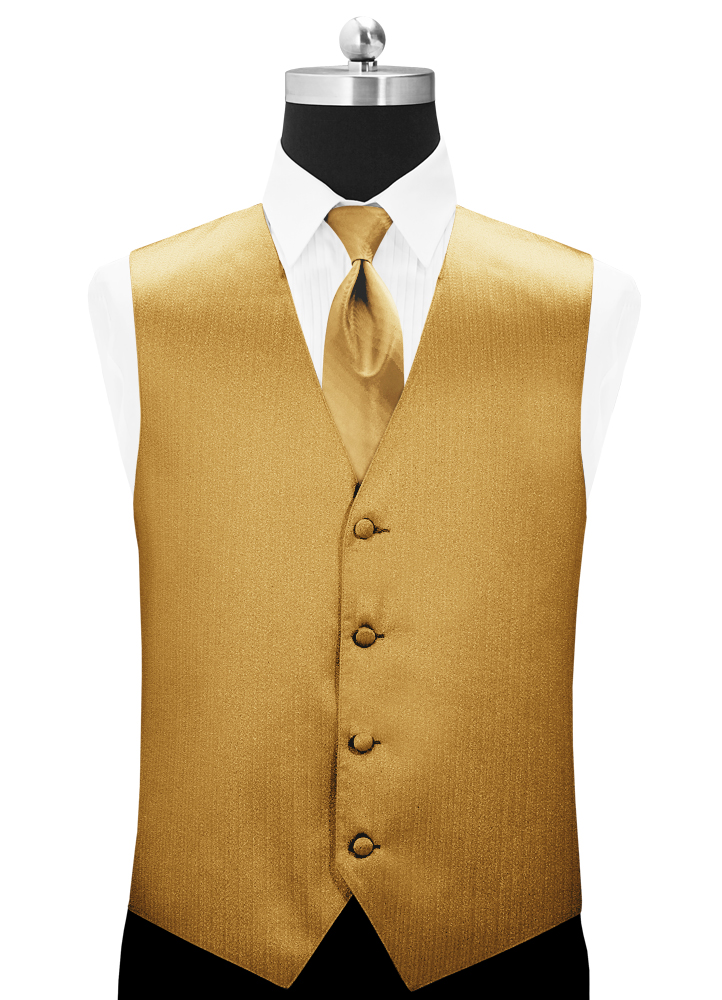 Metallic Gold 'Vertical' Vest and Long Tie