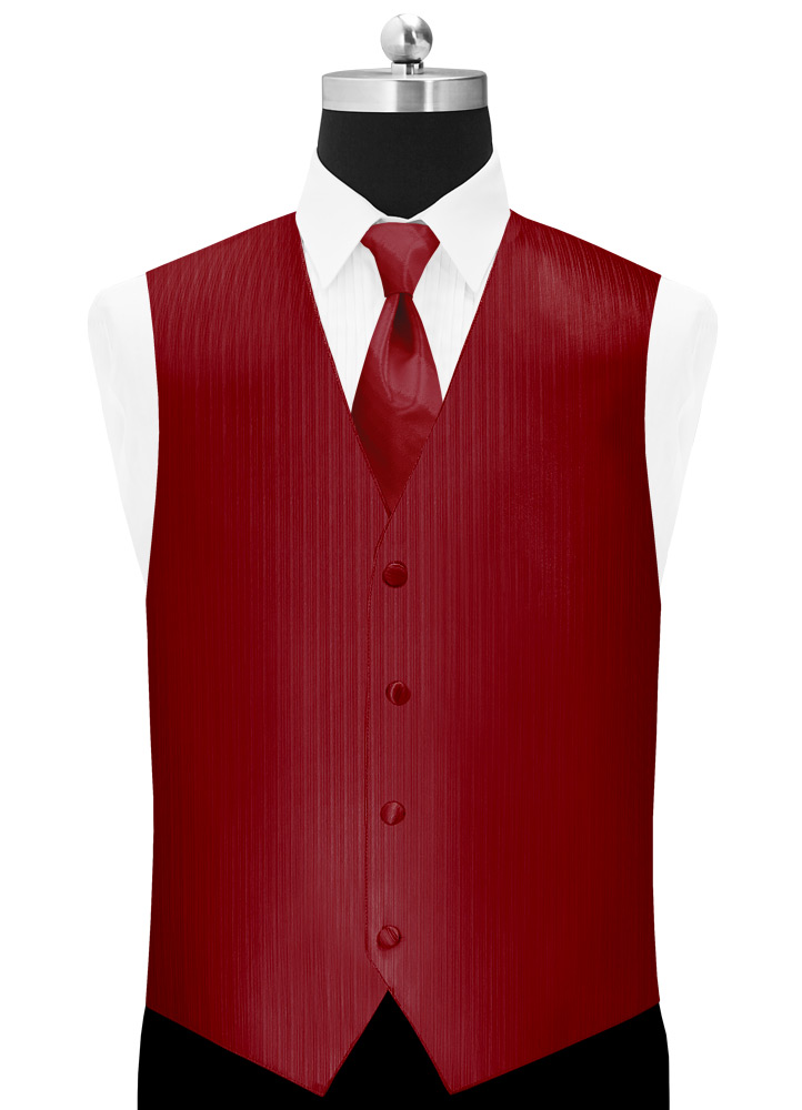 Red 'Vertical' Tuxedo Vest