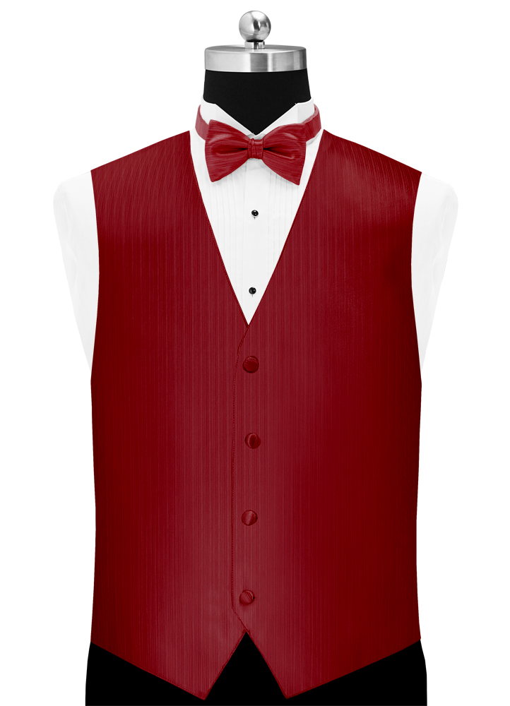 Apple Red 'Vertical' Vest and Bow Tie